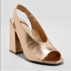 A New Day Rose Gold Block Heel High Vamp Pumps